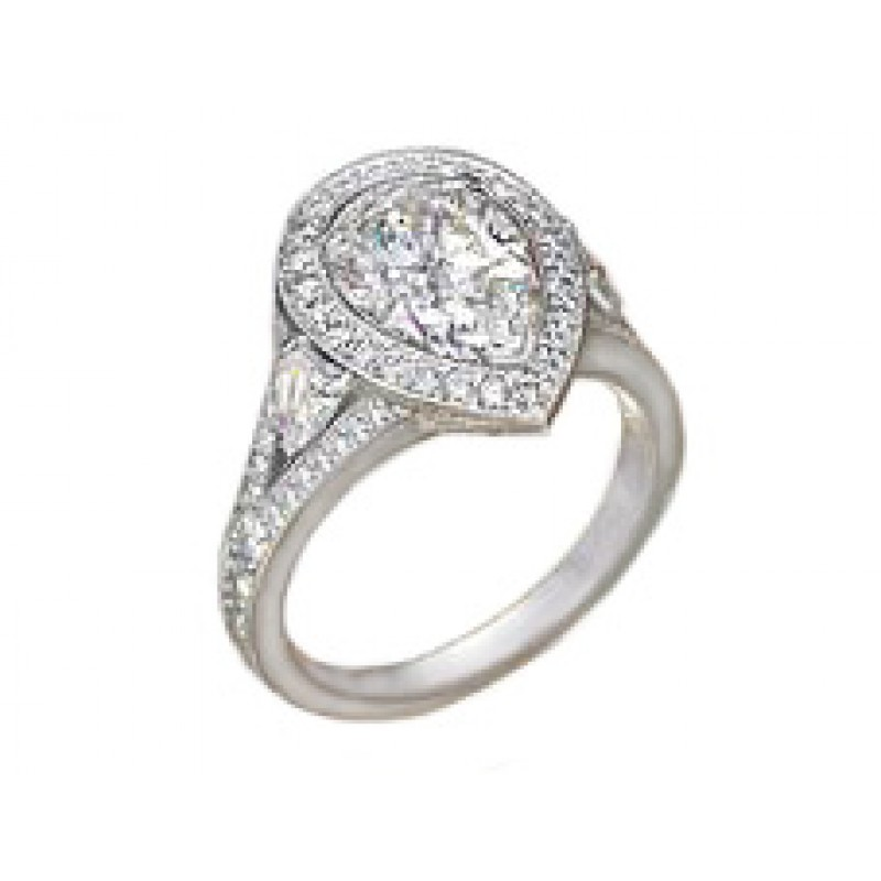 Pear center pave' halo shield side diamond ring