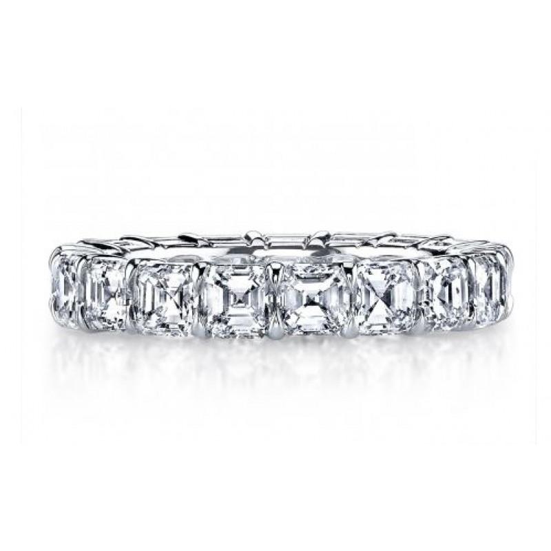 Asscher diamond handmade platinum eternity band