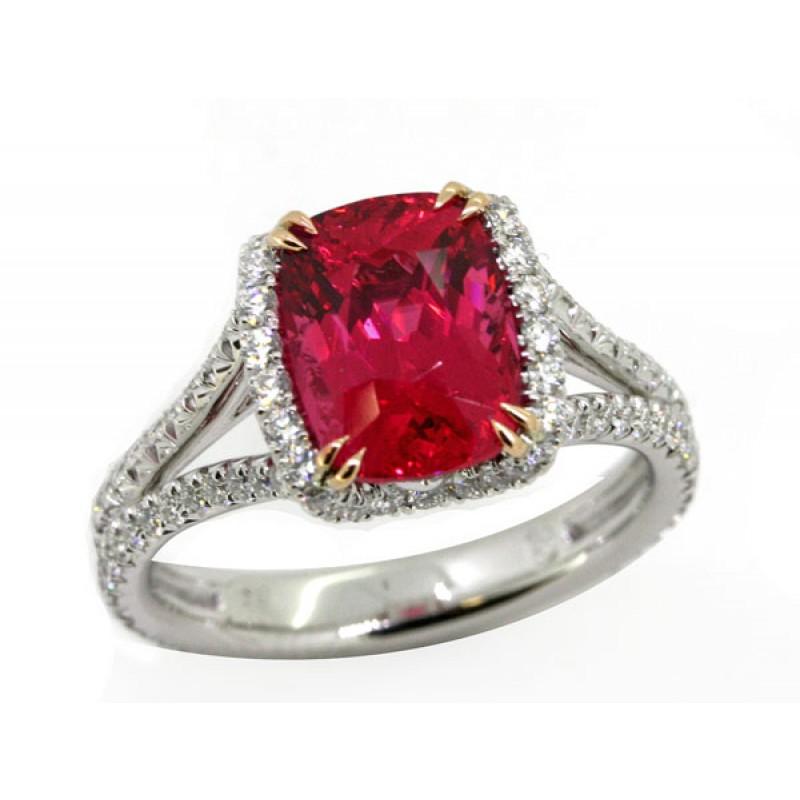Platinum/ 18k rose gold 3.34ct vivid cushion Spinel pave' diamond handmade ring