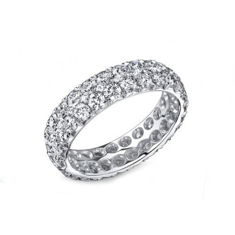 Two-row 3ctw French pave' diamond wedding band