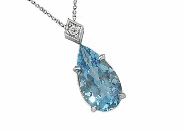 23ct pear aquamarine diamond pendant pendants jewelry 23ct pear aquamarine diamond pendant aloadofball Image collections