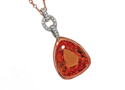 12ct Imperial Topaz 18k rose gold custom pendant