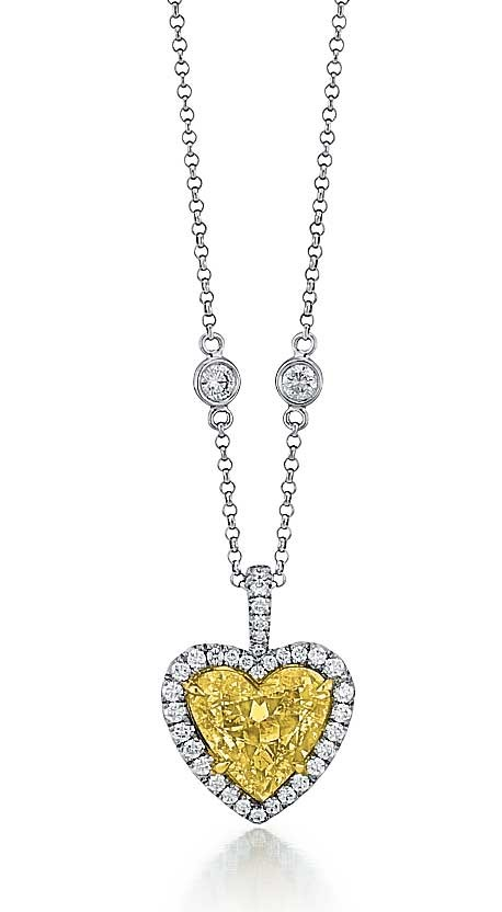 Fancy intense yellow heart shape diamond pendant fancy color fancy intense yellow heart shape diamond pendant aloadofball Image collections
