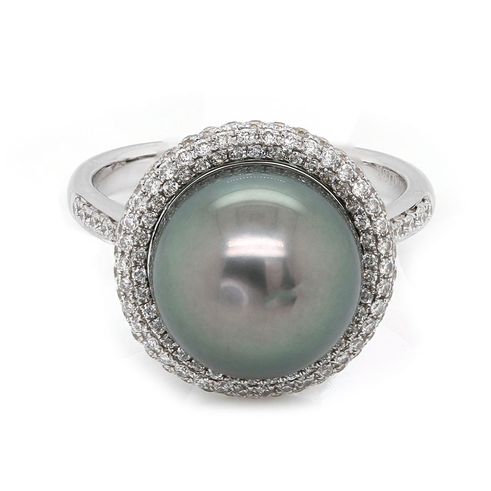 Black Pearl Halo Ring