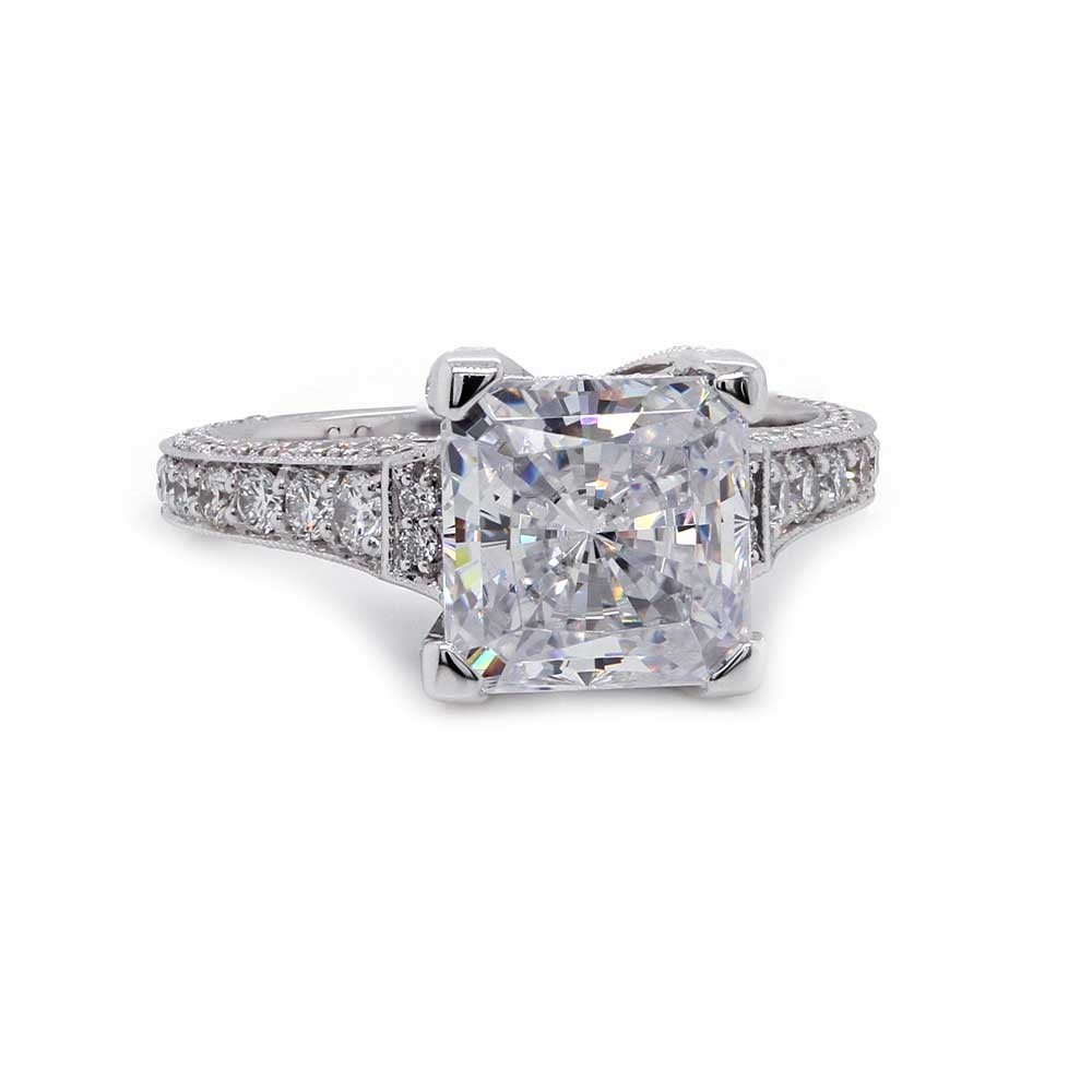 Princess Cut Three Sided Pave Engagement Ring