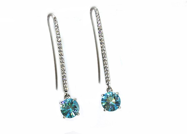 French wire diamond pave' and blue Zircon earrings