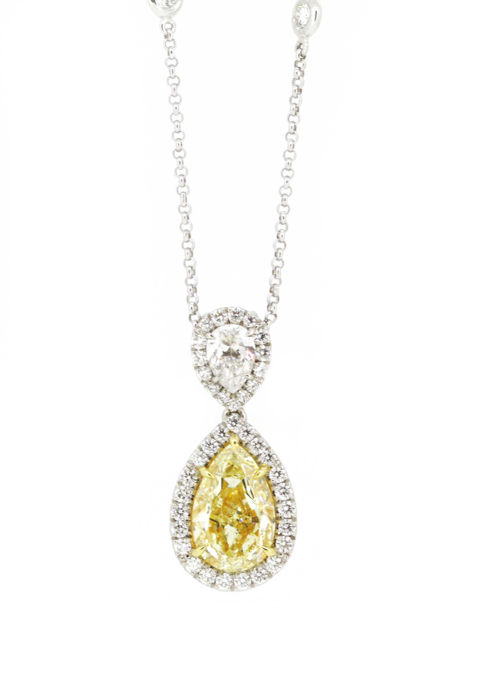 Yellow diamond and white diamond double pear shape pendant