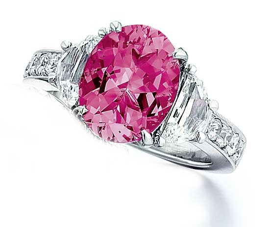 Pink Sapphire with half moons ring
