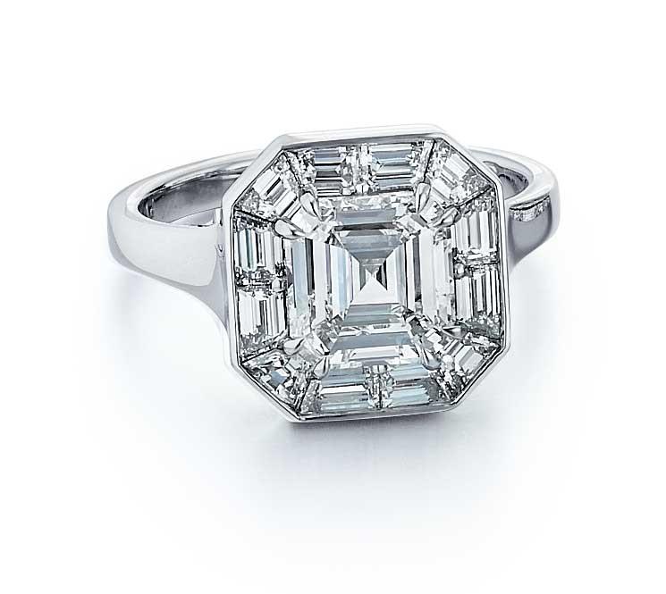Custom made Asscher cut diamond engagement ring