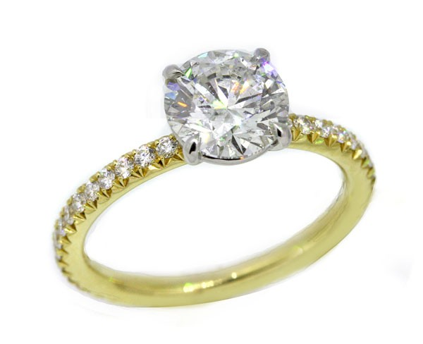 Handmade 18k yellow gold w/ platinum crown pave' solitaire ring 1.50 carat round brilliant diamond center