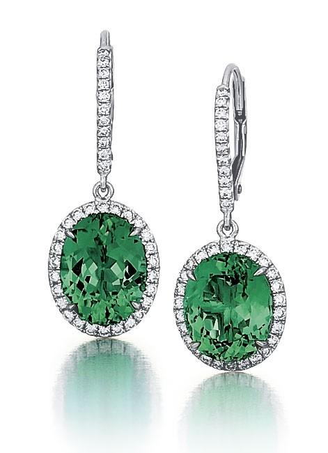 Green Tourmaline Halo Earrings