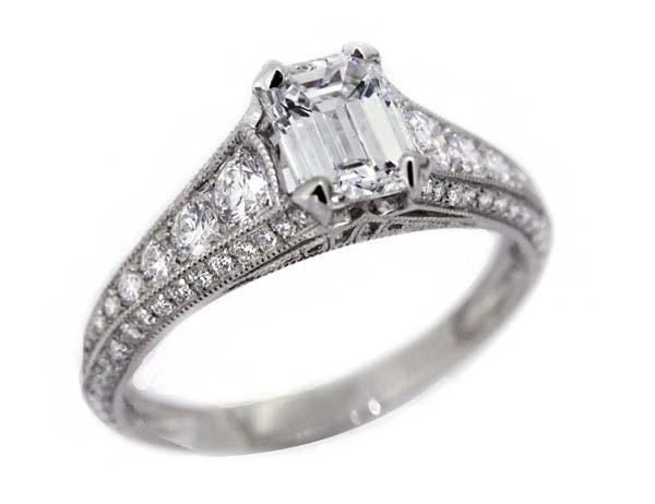 Sebastien Barier .94ct Emerald cut diamond platinum ring