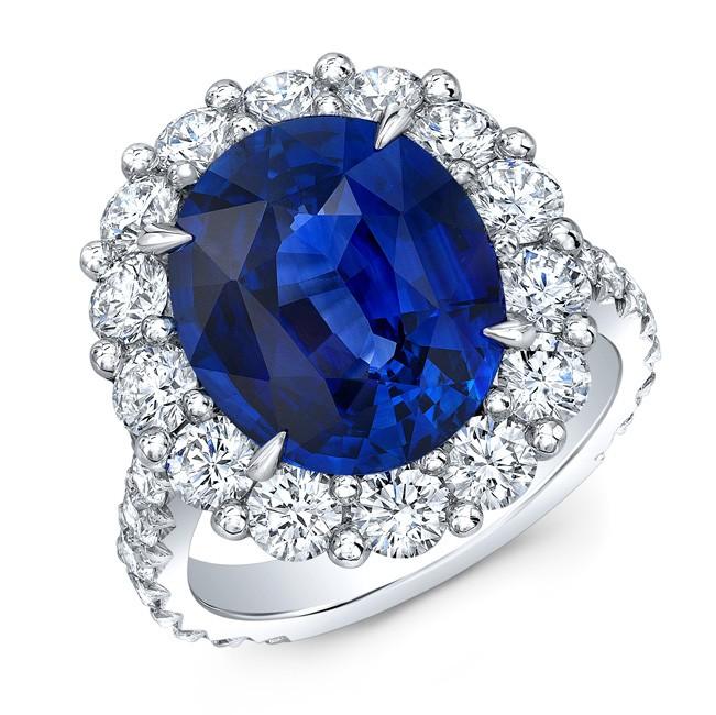 Vivid Blue Sapphire and Diamond Ring