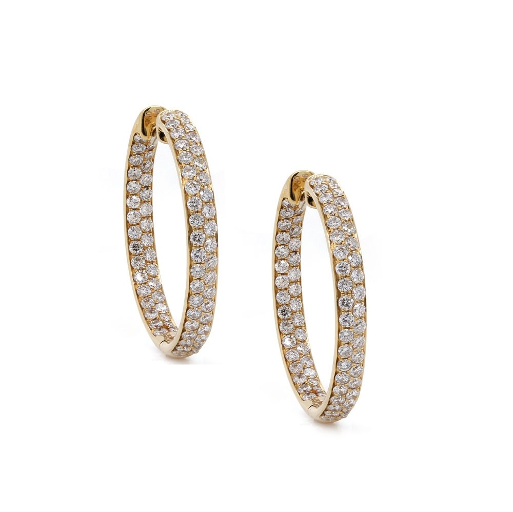 Yellow Gold Inside Out Diamond Hoop Earrings 25mm