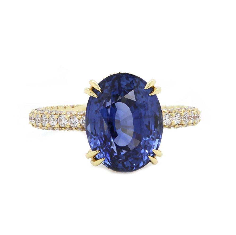 Unheated Oval Blue Sapphire Custom Ring