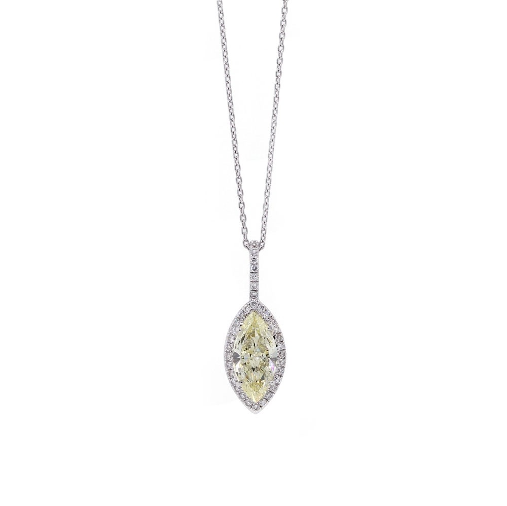 Yellow Diamond Marquise Halo Pendant
