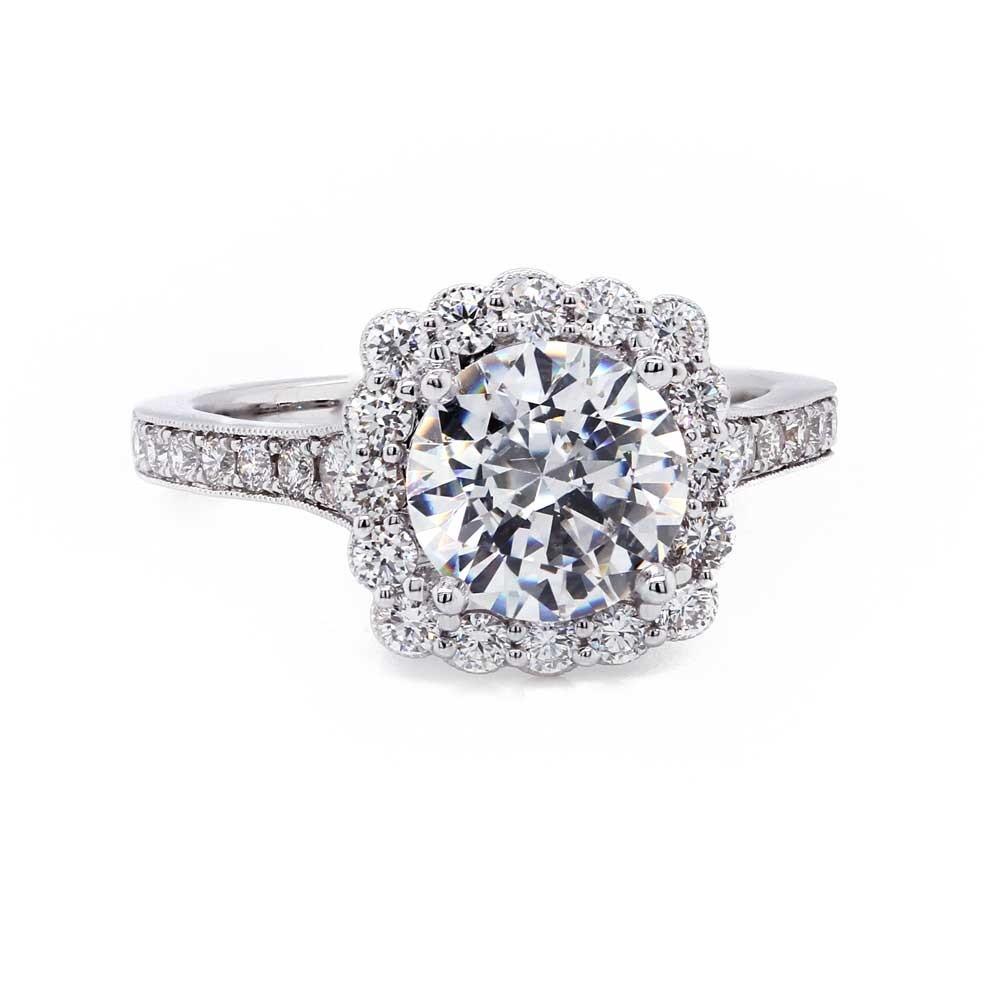 Scalloped Halo Engagement Ring