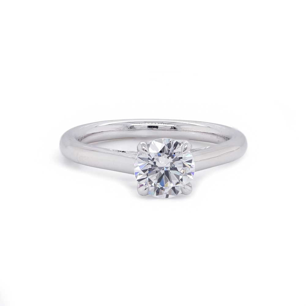 Solitaire Engagement Ring with Inverted Sapphire