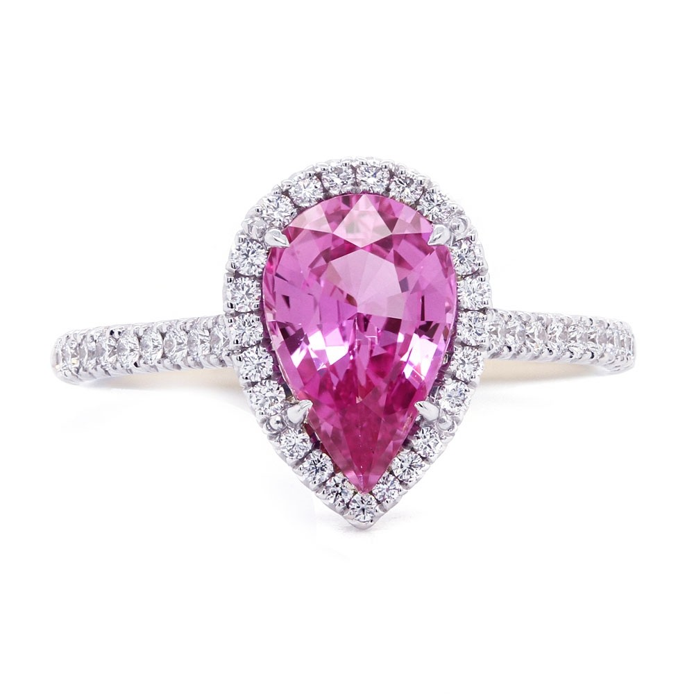 Pink Sapphire Pear Shape Halo Ring