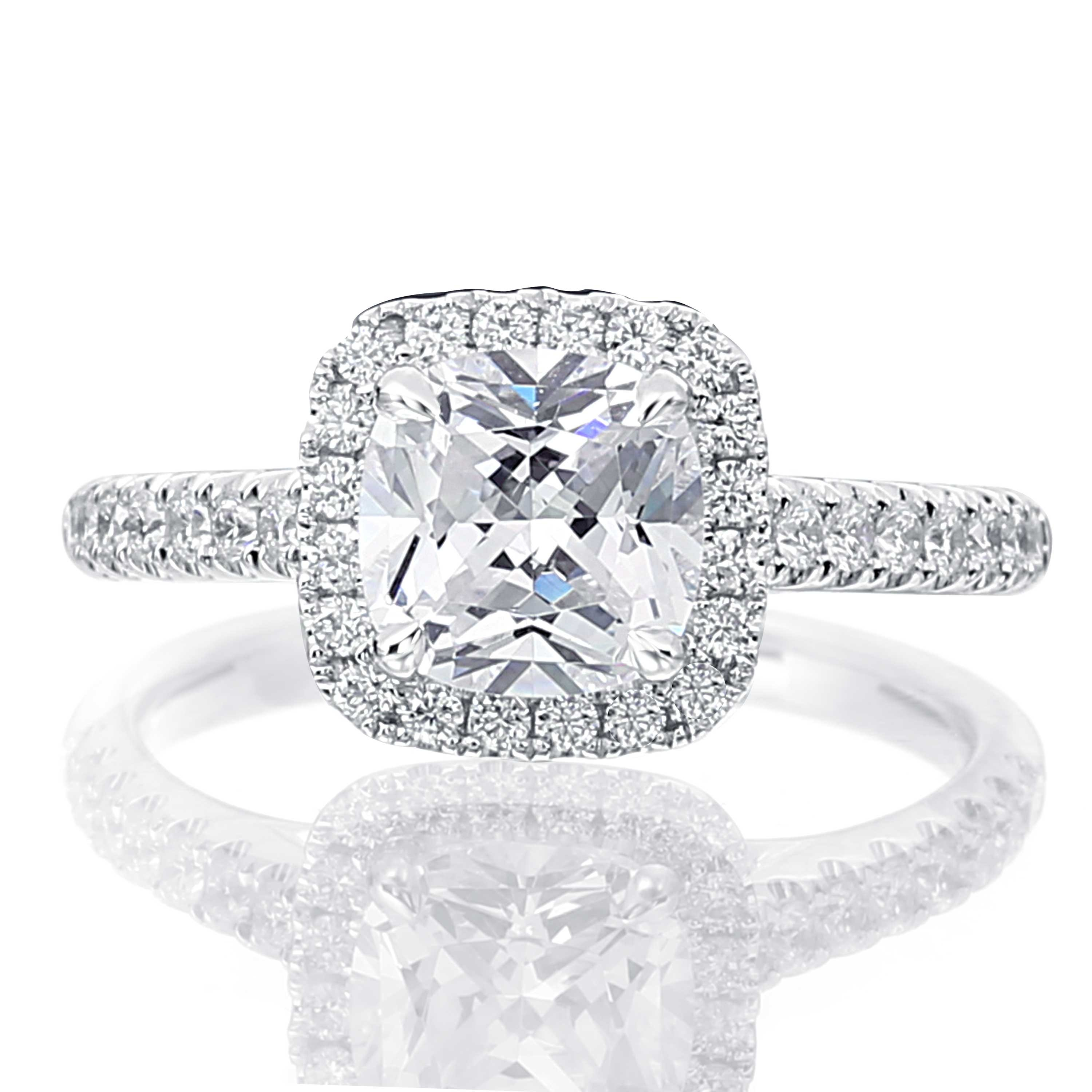 b ring and band en diamond with amorique cut cushion single halo birks engagement angle