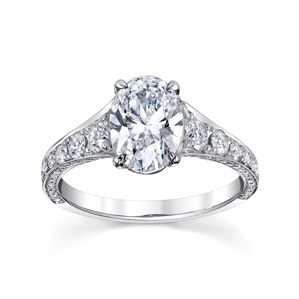 Oval Diamond Three Sided Engagement Ring