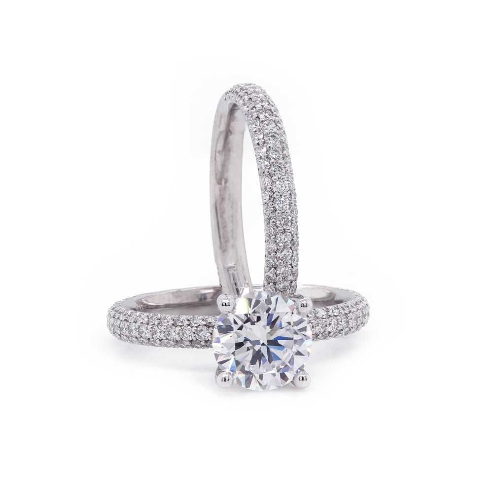 Delicate Three Sided Pave Wedding Set