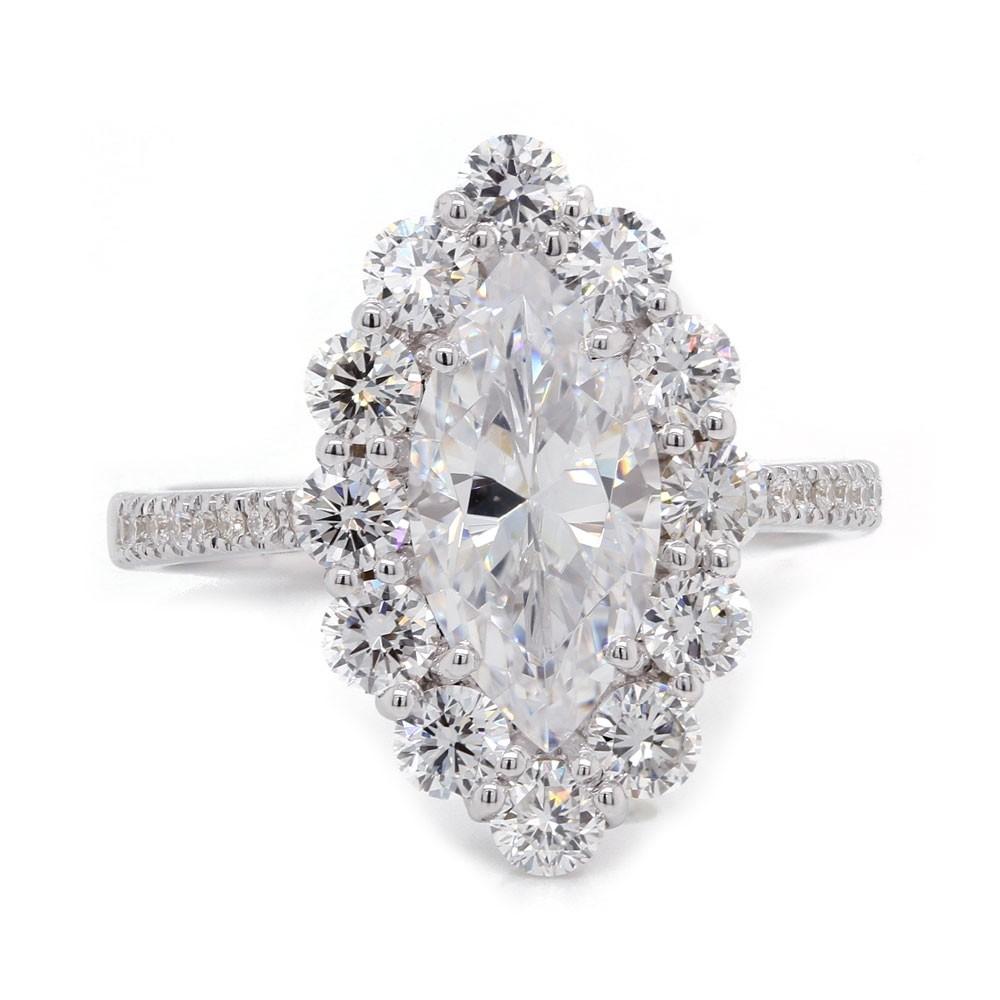 Marquise Diamond Halo Engagement Ring Engagement Rings