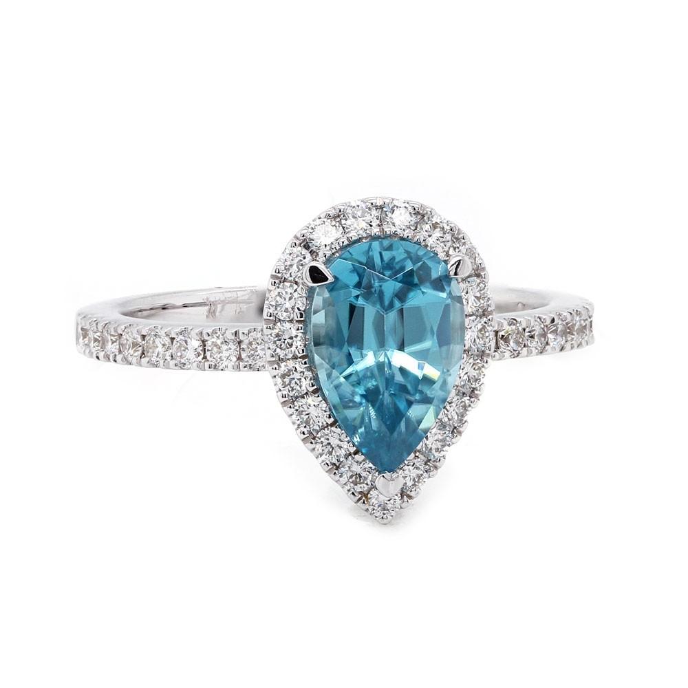 Pear Blue Zircon Halo Ring