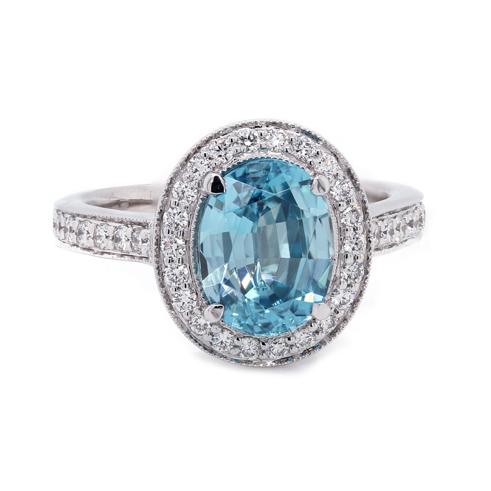 Blue Zircon Pave Halo Ring