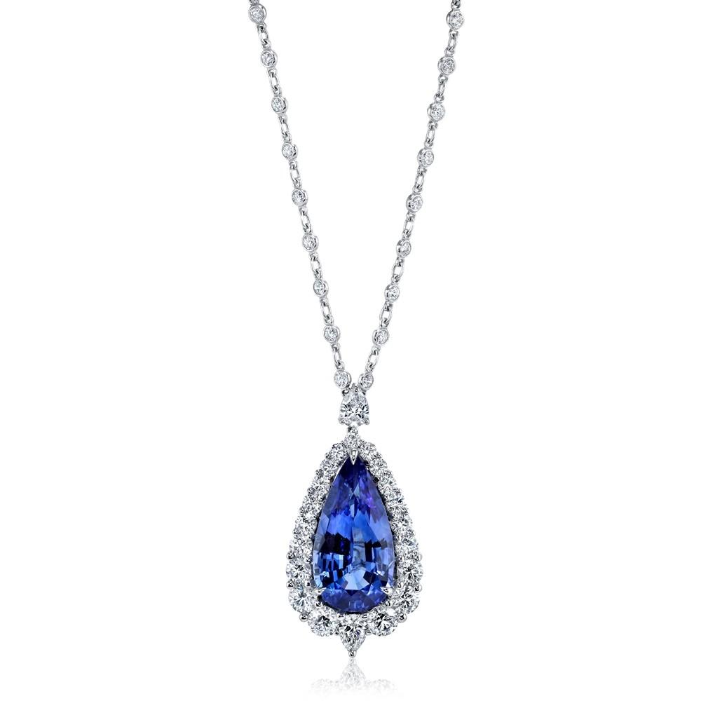 Blue Sapphire Pear Pendant