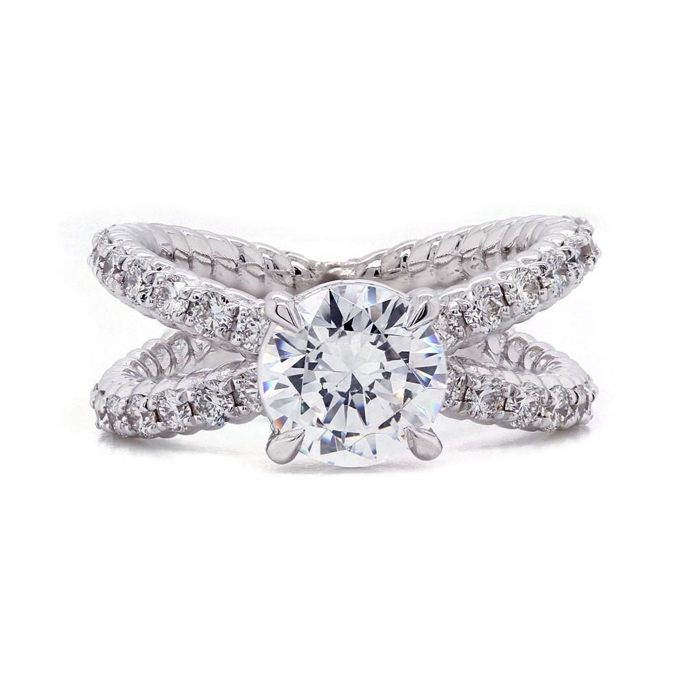Open X Diamond Engagement Ring
