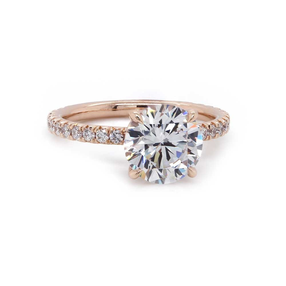 Rose Gold French Pave Engagement Ring