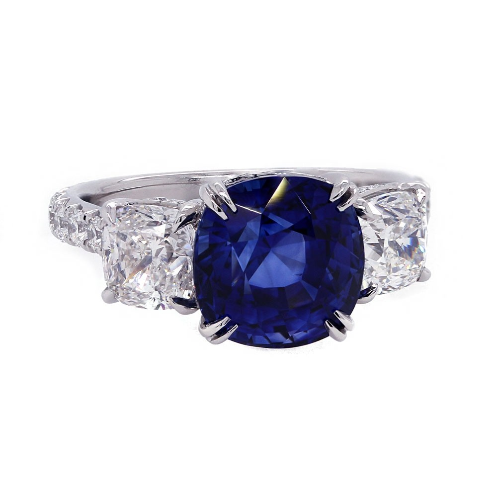 Sapphire Three Stone Cushion Ring