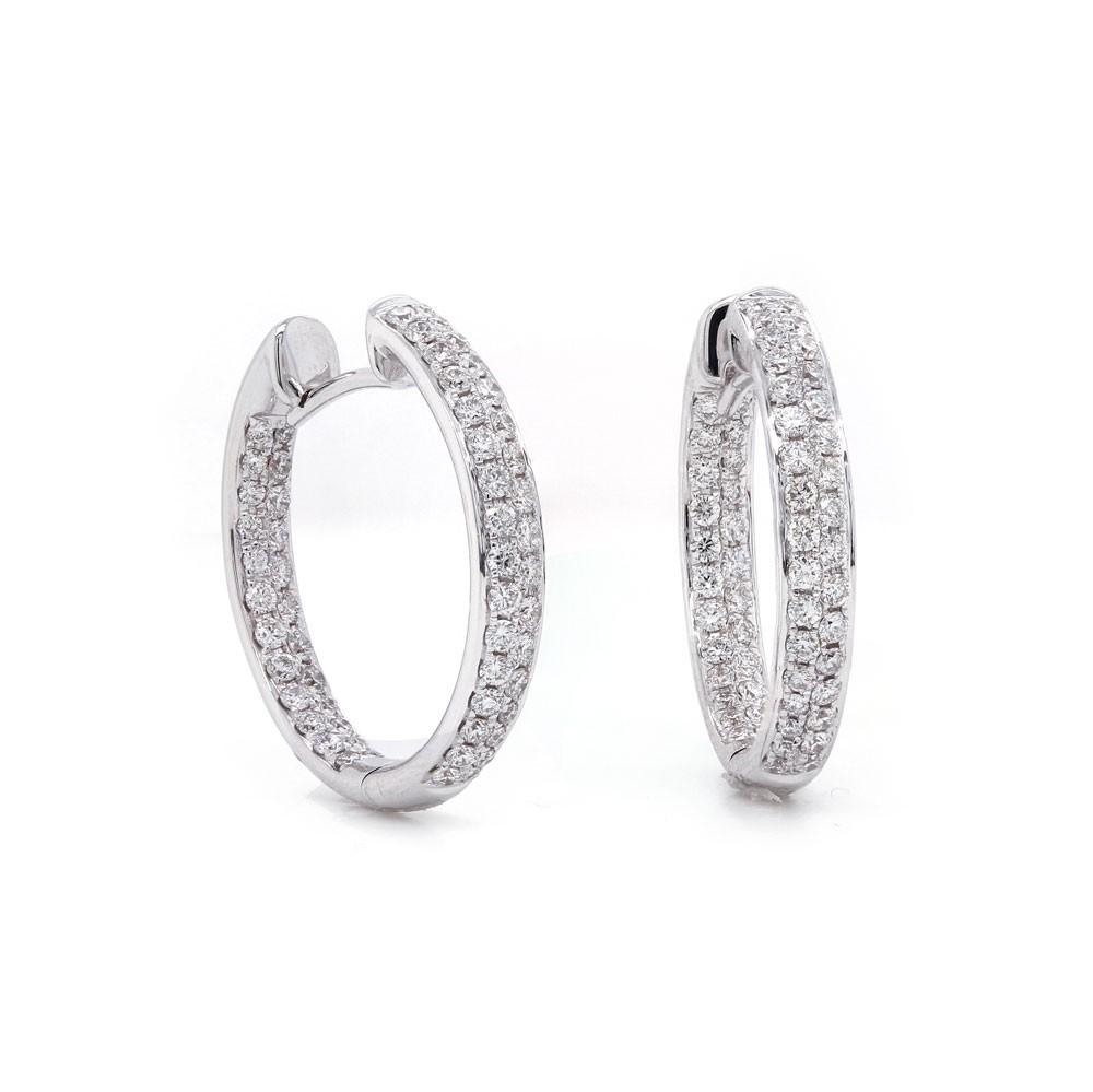 Diamond Inside Out Hoop Earring 20mm