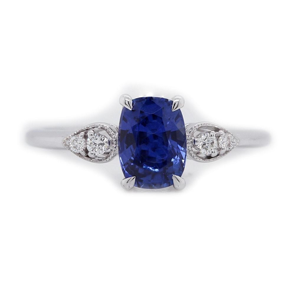 Elongated Cushion Sapphire Engagement Ring