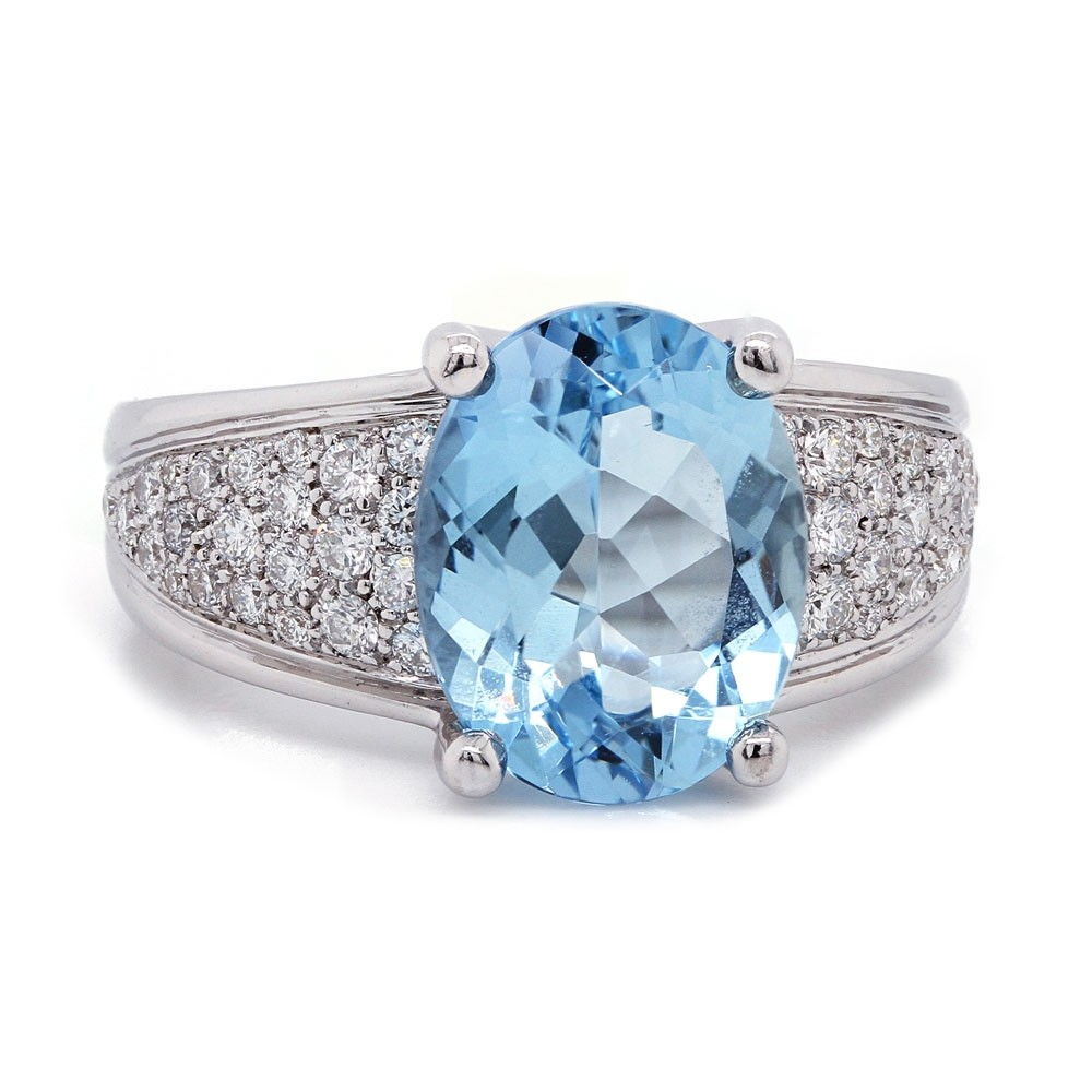 Aquamarine Tapered Pave Ring