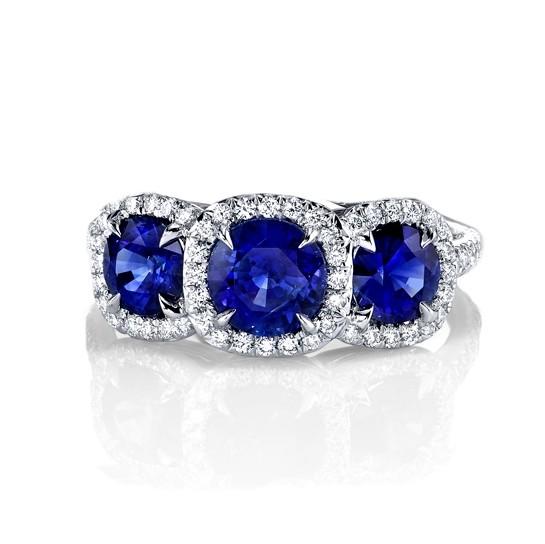 Three Stone Sapphire Halo Ring