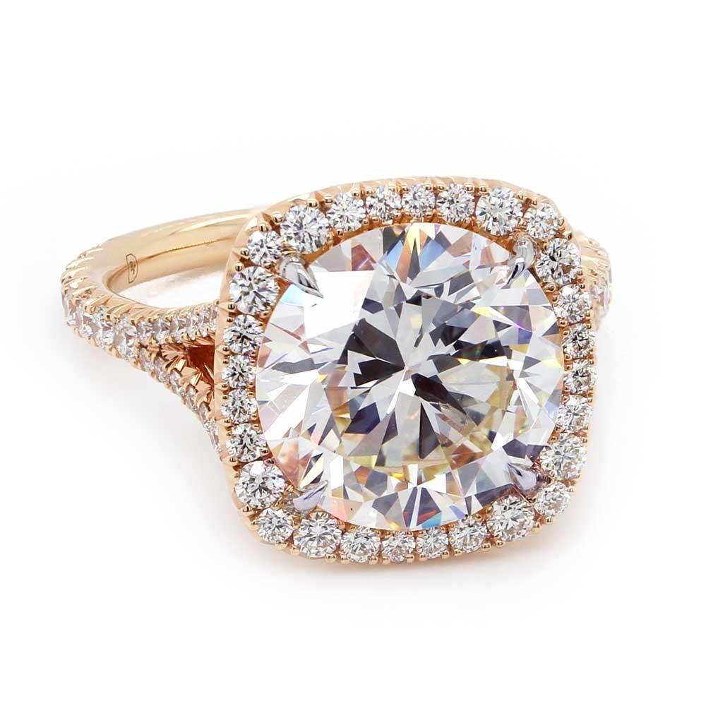 Rose Gold Halo Split Shank Engagement RIng