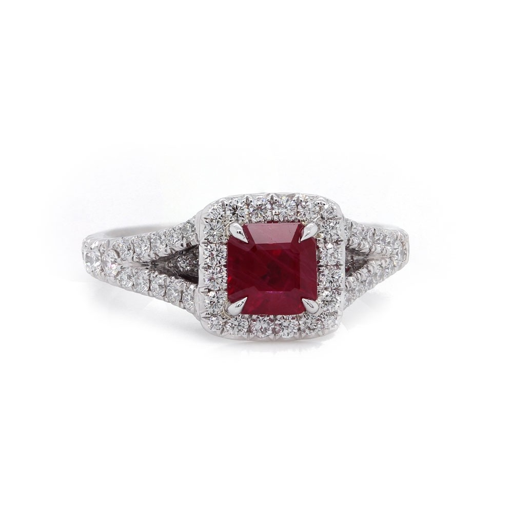 Square Step Cut Ruby Halo Ring