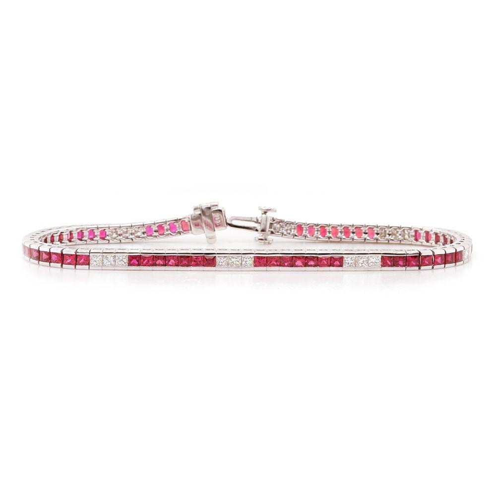 Ruby and Diamond Channel Bracelet