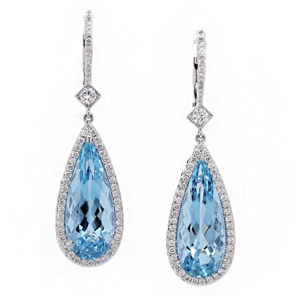 Pear Shape Aquamarine Drop Earrings