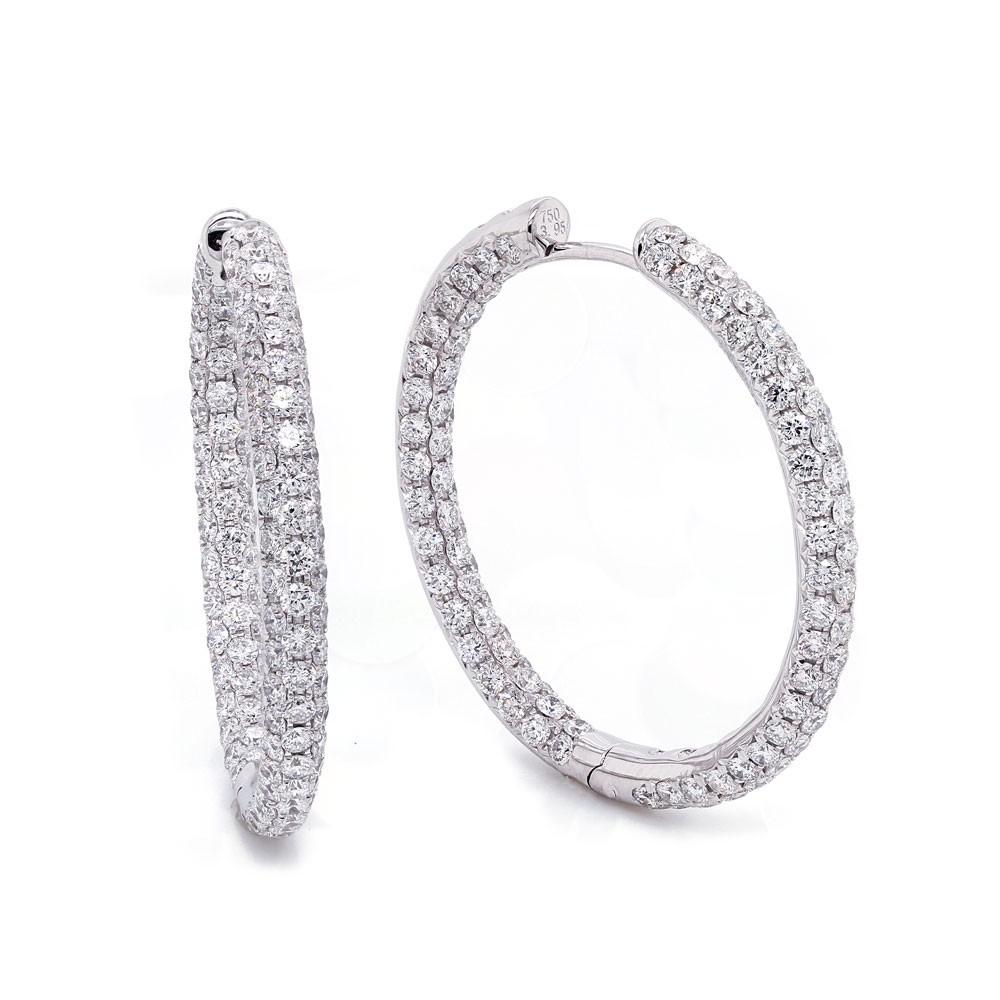 Three Row Inside Out Diamond Hoop Earrings