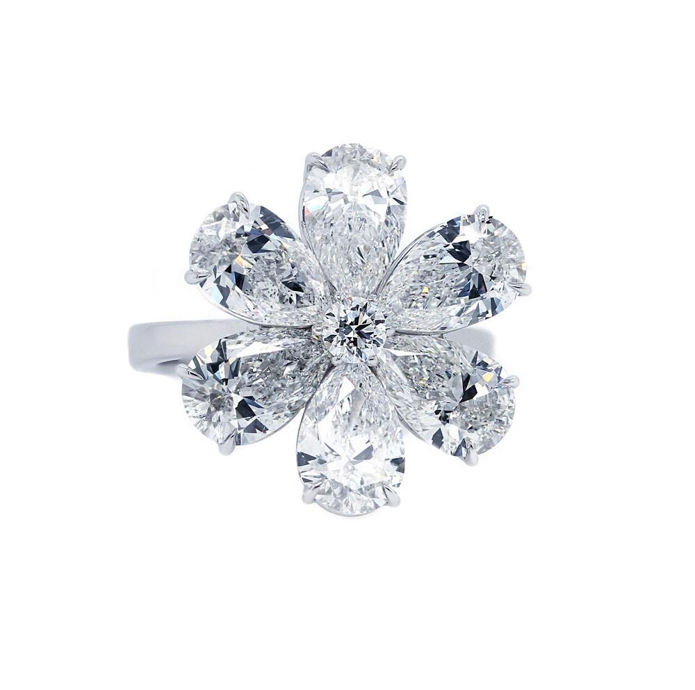 Pear Diamond Flower Ring
