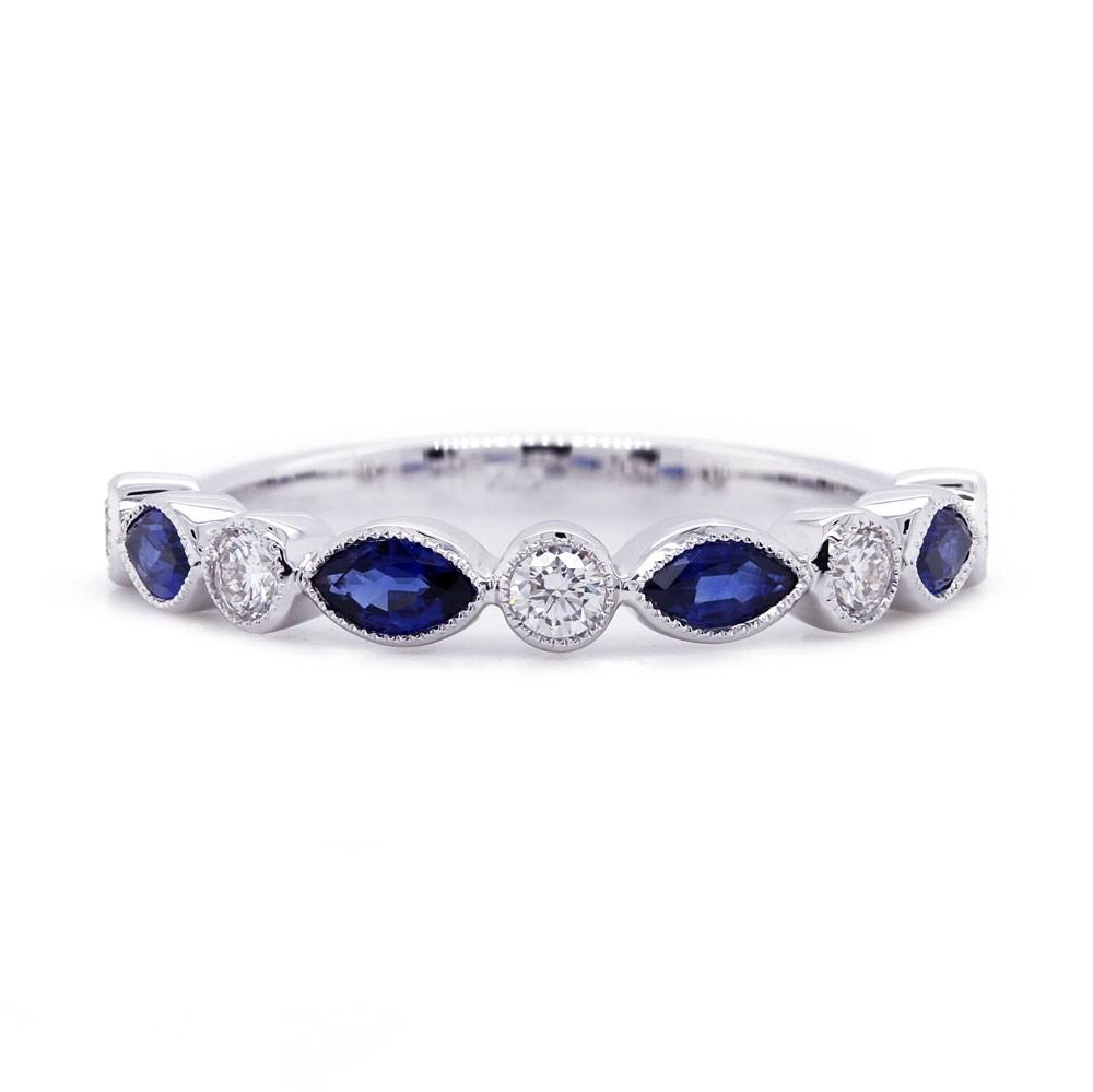 Bezel Sapphire and Diamond Alternating Band