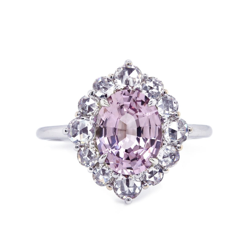 Pastel Pink Sapphire Halo Ring