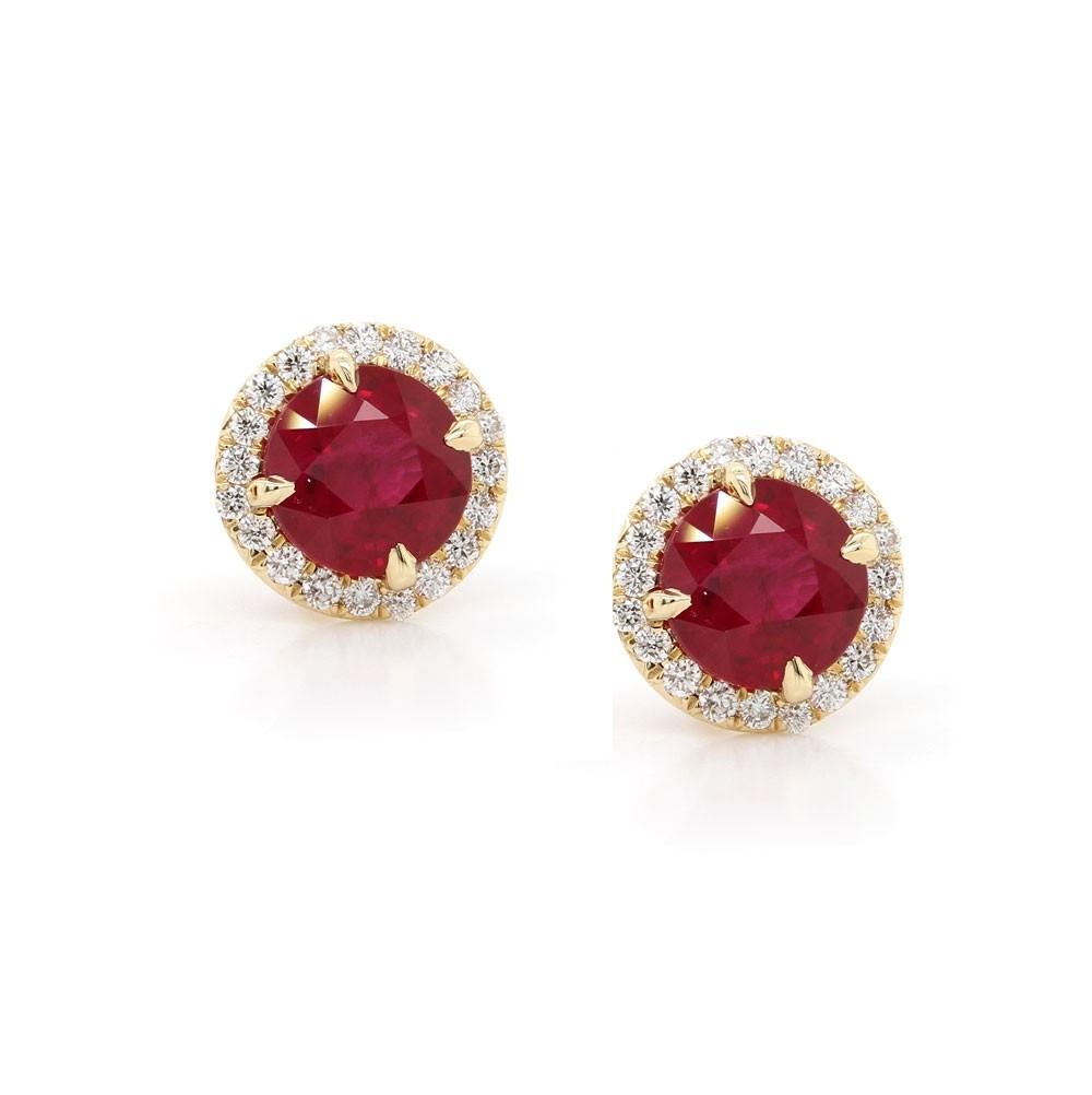 Ruby Halo Stud Earrings 2.04 t.c.w