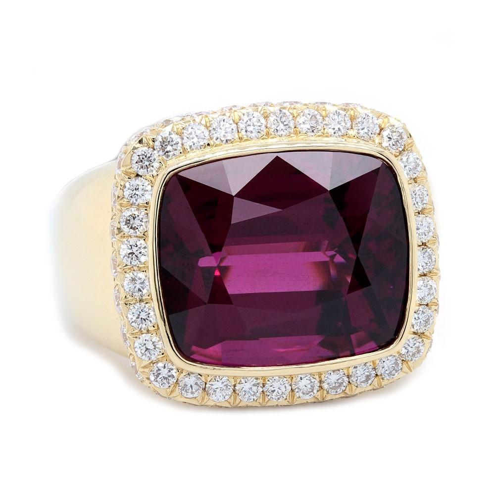 Garnet Diamond Two Sided Halo Ring