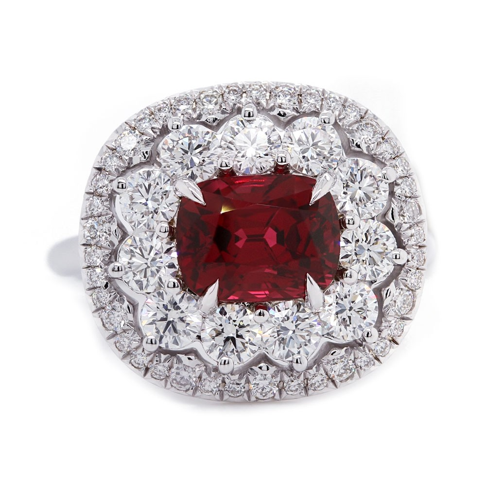 Red Spinel Scalloped Halo Ring