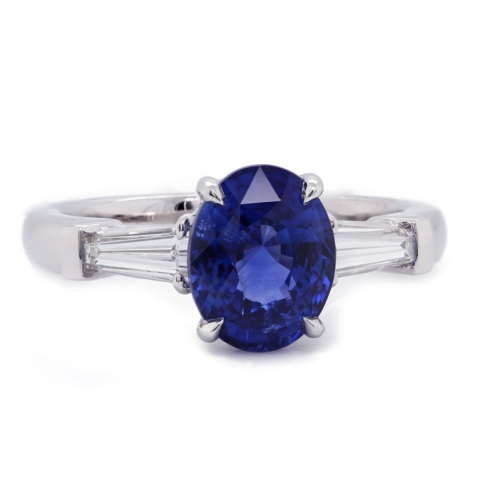 Oval Sapphire and Baguette Ring
