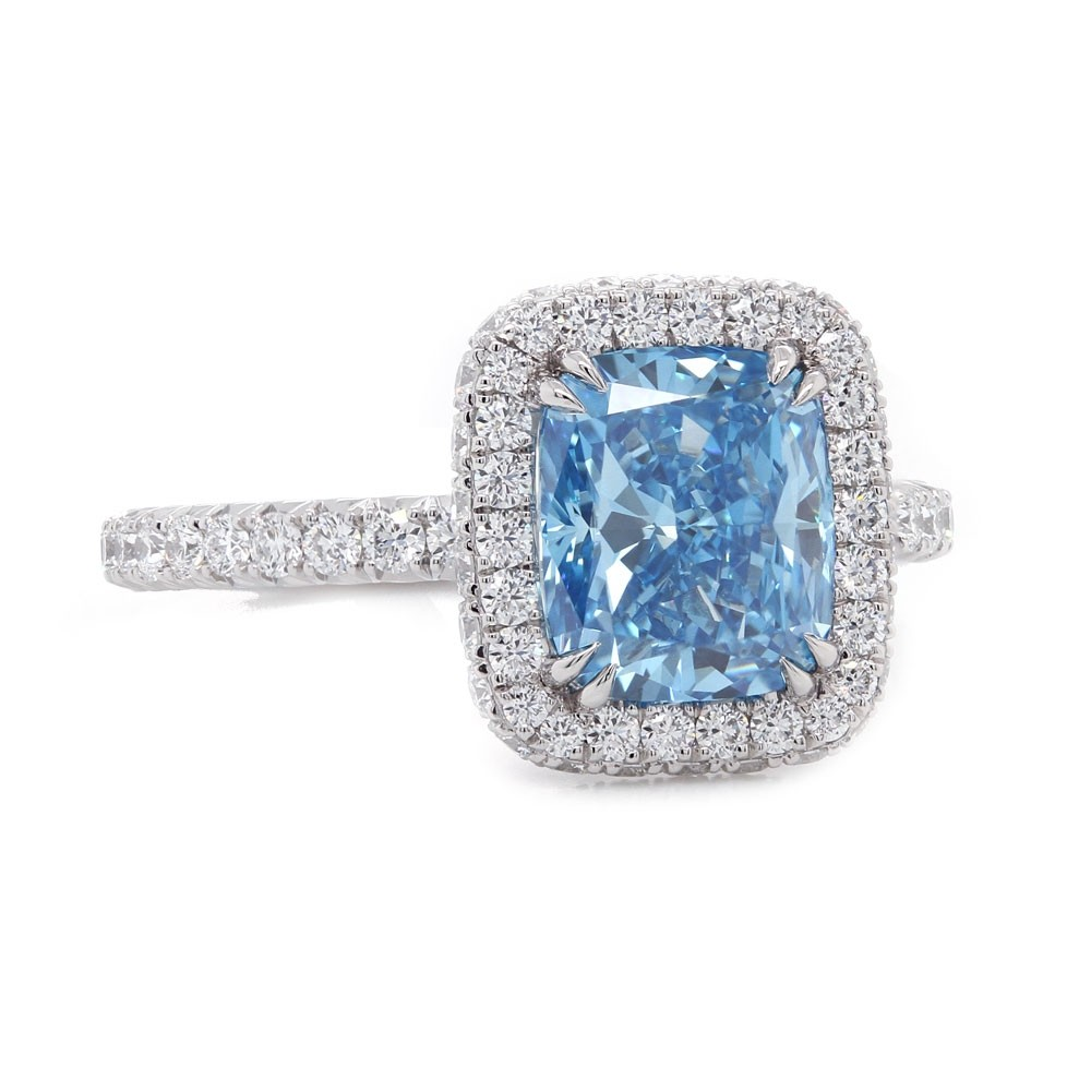 Fancy Vivid Blue Diamond Halo Ring